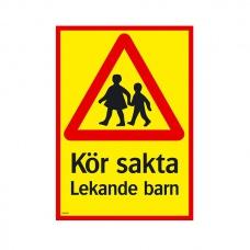 Trafikskyltar - Kör sakta Lekande barn
