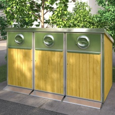 Papperskorgar - Kärlskåp i trä 3 x 240L