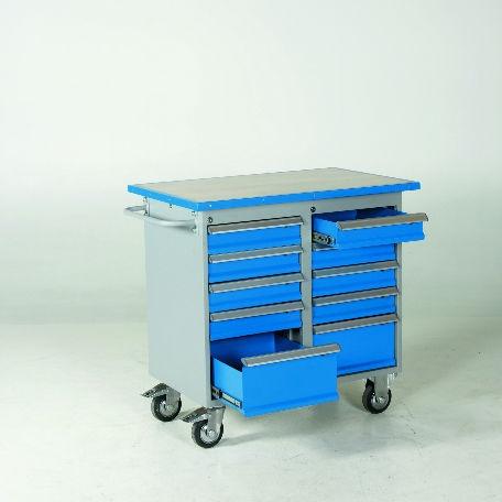 Verktygsvagn 10 lådor med vinylskiva -