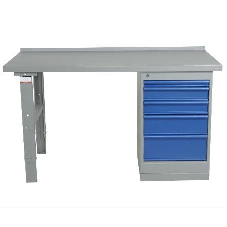 Justerbart arbetsbord 1600-2000mm med stålskiva - 5 lådor - Arbetsbord