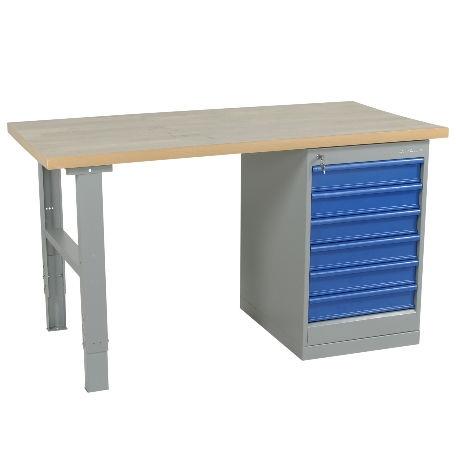 Justerbart arbetsbord 1600-2000mm med stålskiva - 6 lådor - Arbetsbord